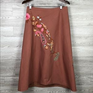 Anthropologie Odille Long Skirt Embroidered Floral